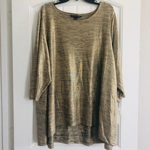 Zac & Rachel Gold Stretch Hi-Lo Hem ¾ Sleeve Top